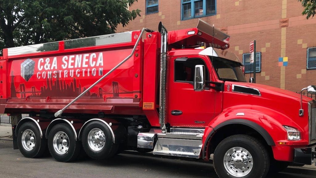 C&A Seneca logo design and brand identity - truck wrap